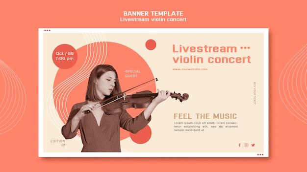 Modelo de banner de concerto de violino ao vivo
