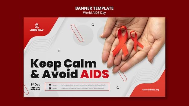 Modelo de banner de conscientização do dia mundial da aids