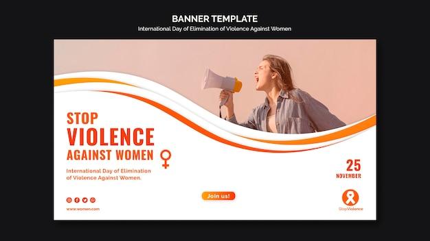 Modelo de banner de conscientização sobre violência contra mulheres