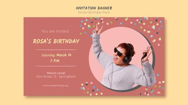 Modelo de banner de convite de aniversário sênior