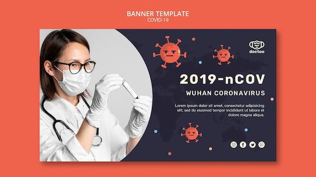 Modelo de banner de coronavírus com foto de médico