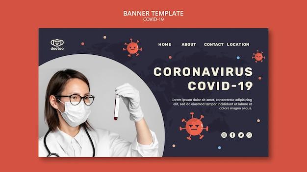 Modelo de banner de coronavírus com foto
