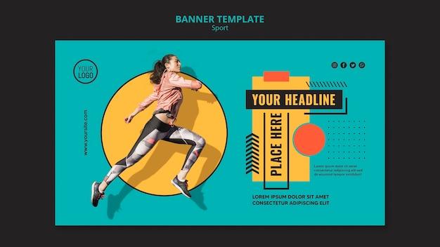 Modelo de banner de corrida de mulher em forma
