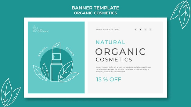 Modelo de banner de cosméticos orgânicos