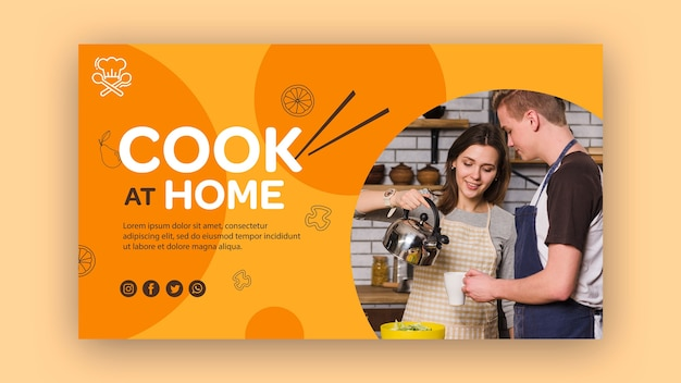 Modelo de banner de cozinhar em casa