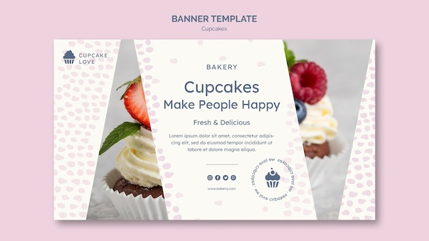 Modelo de banner de cupcakes deliciosos
