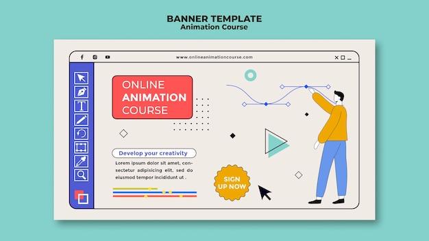 Modelo de banner de curso de animação online