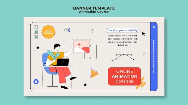 Modelo de banner de curso de animação
