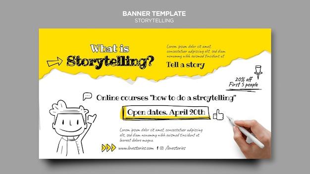 Modelo de banner de curso online de narração de histórias