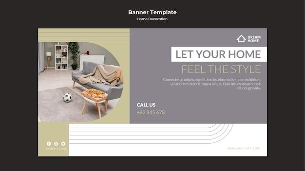 Modelo de banner de decoração para casa com foto