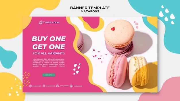 Modelo de banner de deliciosos macarons doces