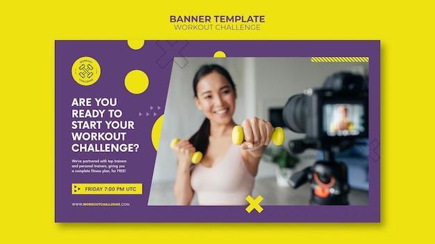 Modelo de banner de desafio de treino