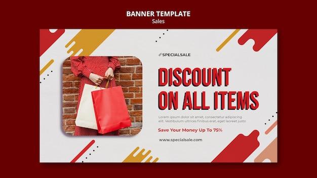 Modelo de banner de desconto de compras