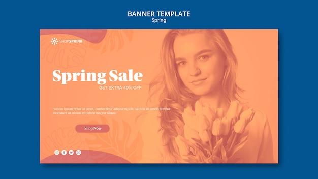 Modelo de banner de desconto de venda de primavera
