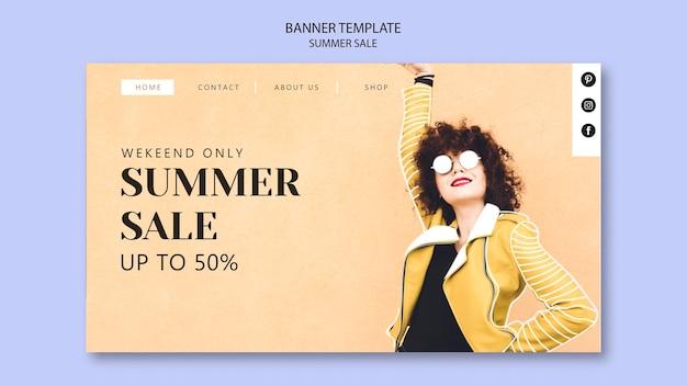 Modelo de banner de desembarque de venda verão