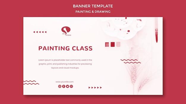 Modelo de banner de desenho e pintura de aulas de abertura