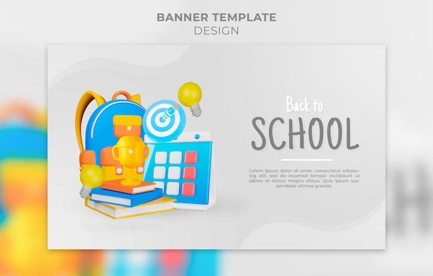 Modelo de banner de design 3d de volta à escola