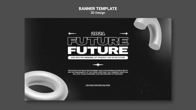 Modelo de banner de design 3d