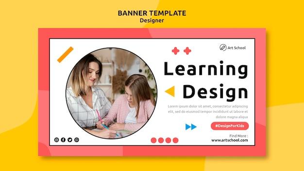 Modelo de banner de design de aprendizagem