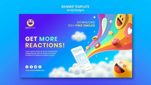 Modelo de banner de design de emoji Psd grátis