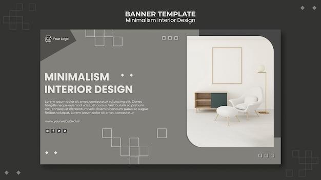 Modelo de banner de design de interiores minimalista