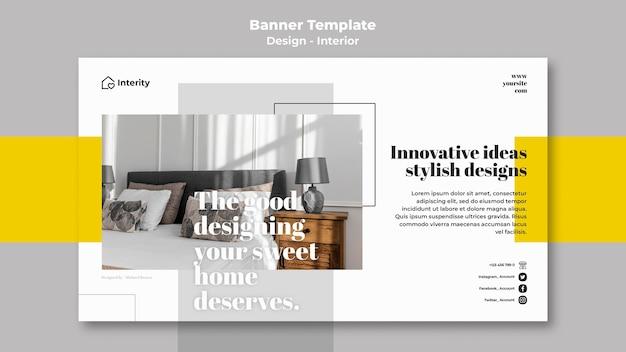 Modelo de banner de design de interiores