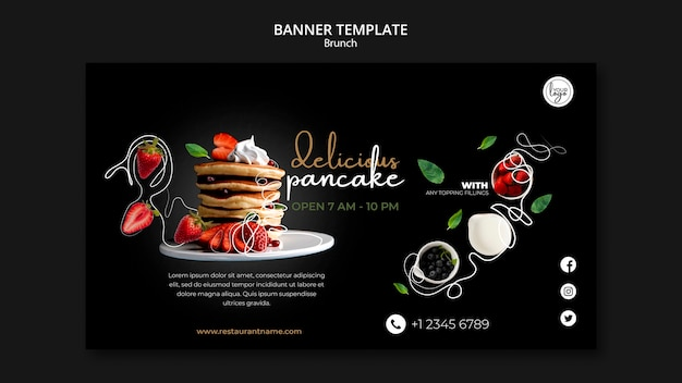Modelo de banner de design de restaurante brunch