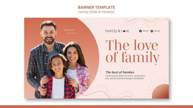Modelo de banner de design familiar
