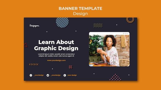 Modelo de banner de design gráfico com foto