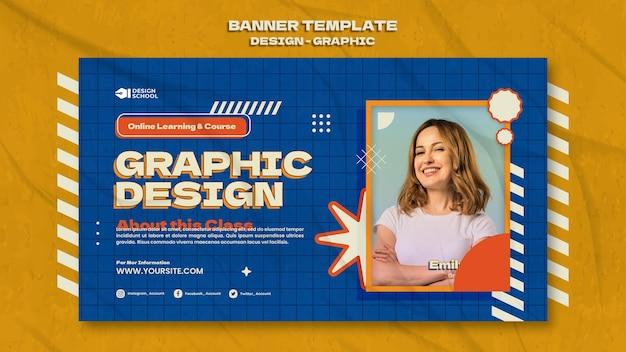 Modelo de banner de design gráfico
