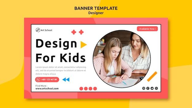 Modelo de banner de design para crianças