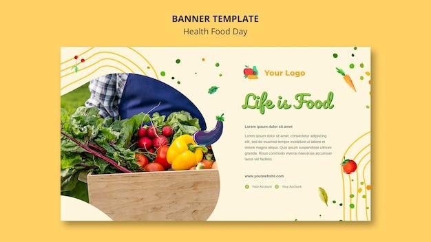 Modelo de banner de dia de comida saudável