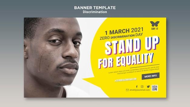 Modelo de banner de dia de discriminação zero com foto