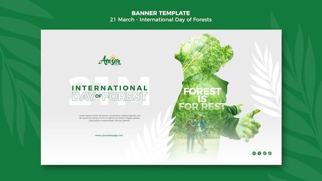 Modelo de banner de dia de florestas com foto