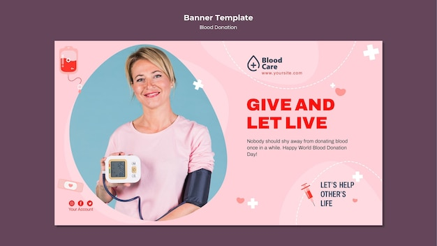 Modelo de banner de doação de sangue
