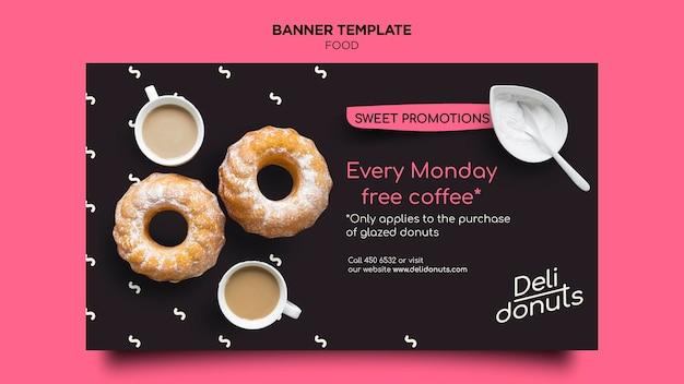 Modelo de banner de donuts deliciosos