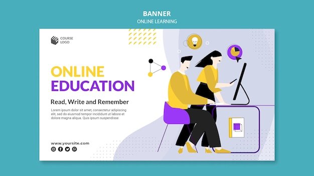 Modelo de banner de e-learning ilustrado
