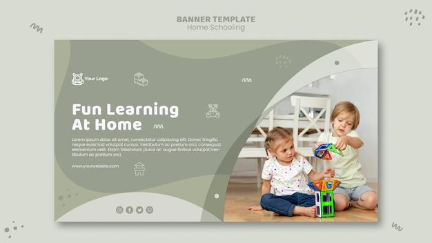 Modelo de banner de educação em casa