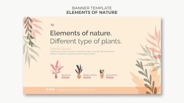 Modelo de banner de elementos da natureza