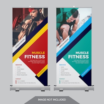 Modelo de banner de enrolar fitness