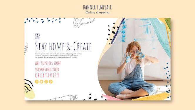 Modelo de banner de entrega on-line de fornecimento de arte