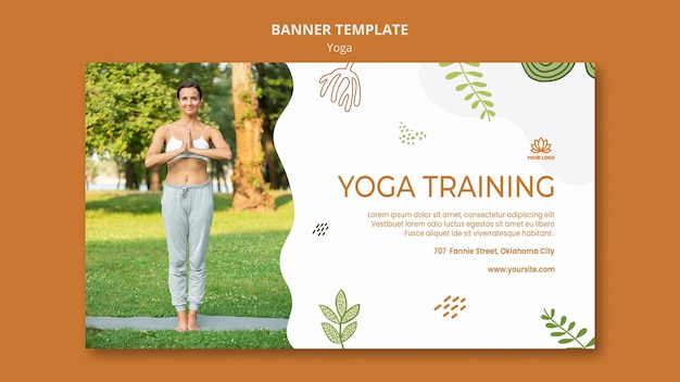 Modelo de banner de equilíbrio corporal de ioga