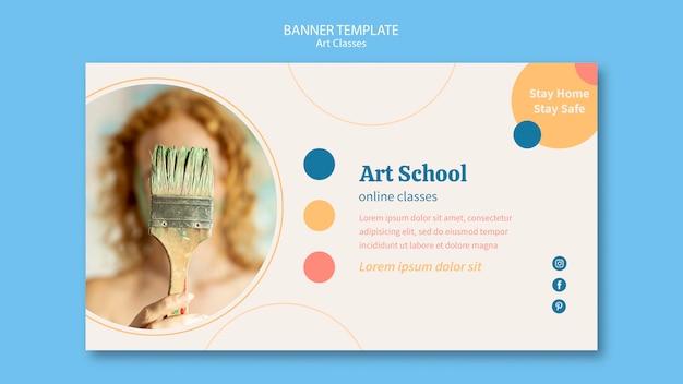 Modelo de banner de escola de arte