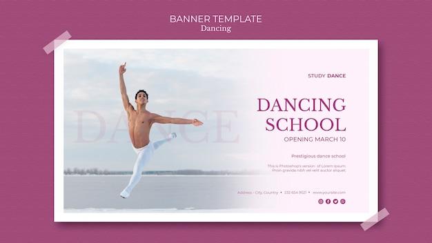 Modelo de banner de escola de dança e homem dançando