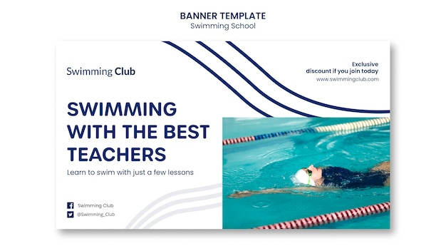 Modelo de banner de escola de natação