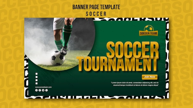 Modelo de banner de escola de torneio de futebol