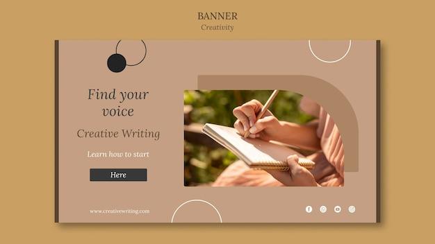 Modelo de banner de escrita criativa