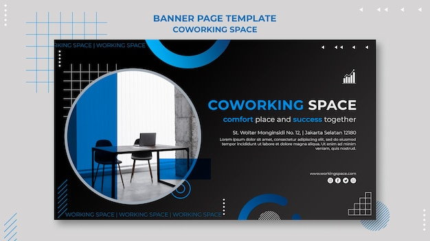 Modelo de banner de espaço de coworking