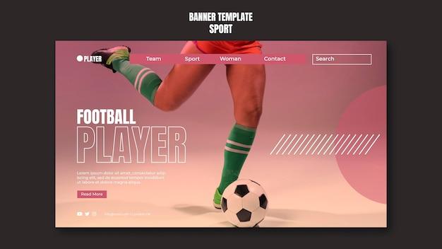 Modelo de banner de esporte com foto de mulher jogando futebol