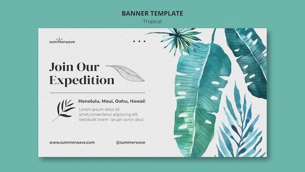 Modelo de banner de estilo de design tropical